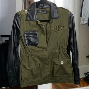 Military Green & Leather Cargo Jacket